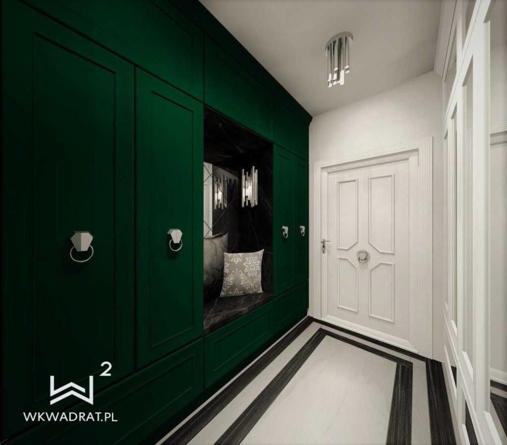 PROJEKTOWANIE I ARANŻACJA WNĘTRZ - ARCHITEKT WNĘTRZ CIECHOCINEK projekt-aranzacji-hol-apartamentu-zielony-1-projektowanie-wnętrz